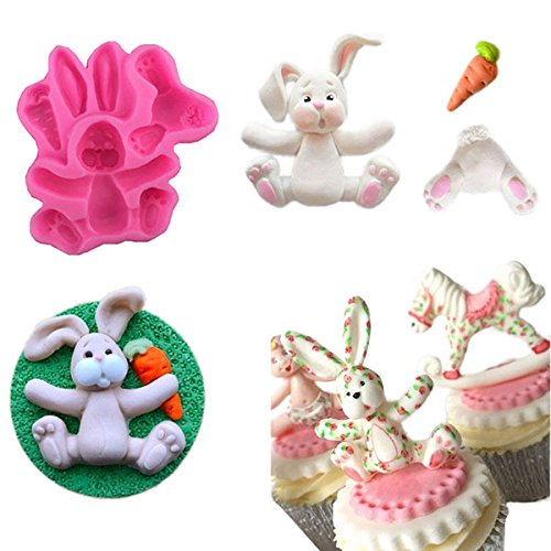 EgBert 3D Rabbit Easter Bunny Silicone Mould Fondant Cake Baking Molds M116 Cupcake Tools Kitchen Accessories