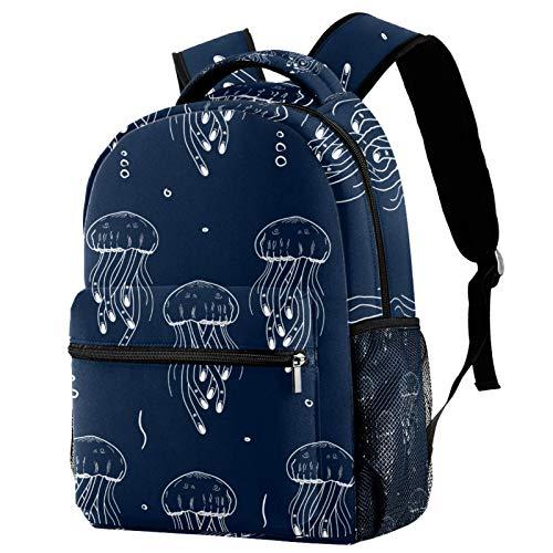 LAZEN Mochila clásica escolar Mochila de viaje ligera Mochila para portátil para mujeres Adolescentes Hombres Medusas marinas Fondo azul marino