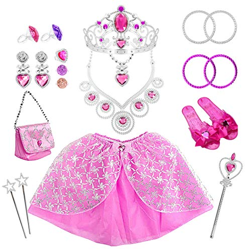 Tagitary 21 Pack Princess Pretend Jewelry Girl's Toys, Girl's Jewelry Dress Up Play Set,Birthday Party Supplies Included Crowns,Necklaces,Wands,Rings,Earrings