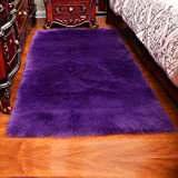 QKX,Alfombra,Long Hair Solid Carpet Living Room Deco Rectangle Fluffy Mat Pad Anti-Slip Chair Sofa Cover Plain Area Rugs,Purple,55x55cm