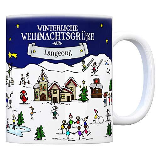 trendaffe - Langeoog Weihnachten Kaffeebecher mit winterlichen Weihnachtsgrüßen - Tasse, Weihnachtsmarkt, Weihnachten, Rentier, Geschenkidee, Geschenk