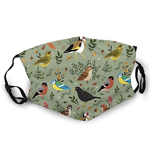DearLord Ma_sks - Pañuelo unisex transpirable lavable y reutilizable, diseño de pájaros de jardín para proteger la cara, pañuelos, pasamontañas para adolescentes y adultos, uso diario