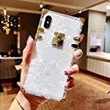 KAPADSON for iPhone 6 plus/6s Plus/iphone7 Plus/iphone8 Plus Case, Luxury Clear Shell Crystal Square Metallic Corner Fashion Soft Cover