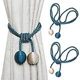 Shackcom 2 Piezas Cuerdas para Cortinas - Cuerda Abrazaderas de Cortina - Hebillas de Europa-Decoración de La Ventana - Accesorios para Cortinas y persianas - Curtain Tiebacks- Beige + Azul Pavo Real