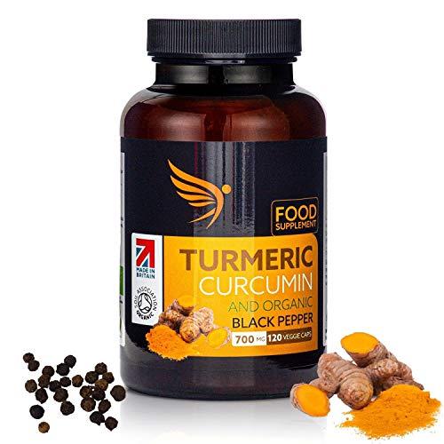 Organic Turmeric Curcumin Capsules with Organic Black Pepper - 700mg High Strength Food Supplement - 120 Vegan Turmeric Tablets - Soil Association Certified - Made in UK