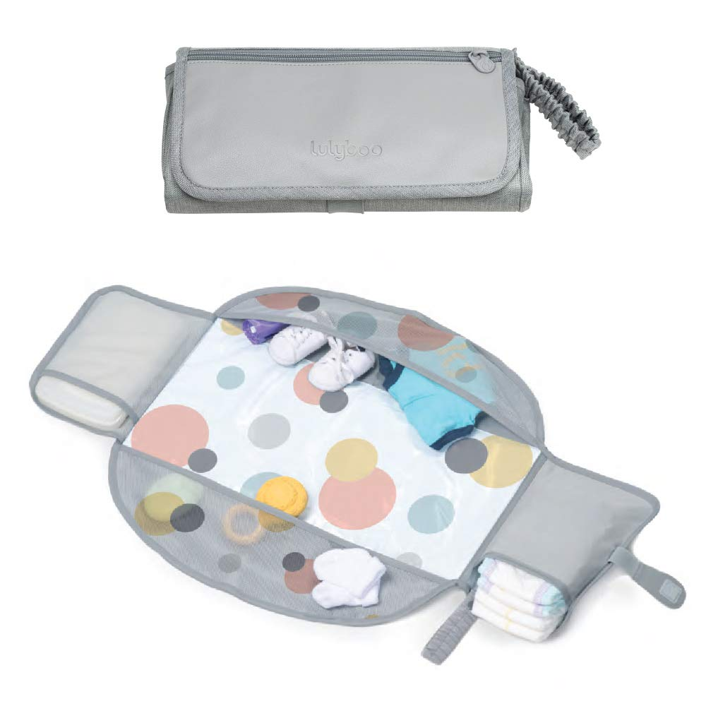 Lulyboo Portable Travel Diaper Changing Kit for Newborn Baby Infant Waterproof Changing Pad and Mat with Stretchy Strap - Diaper Pocket Creates Head Cushion Extra Storage Compartments