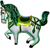SPACE PET CIRCUS CAROUSEL HORSE Green 35 inch STRINGLESS FLYING PET Balloon ANTI-GRAVITY TOY HOVERS and FLOATS in MID-AIR - Includes Height Control Weights