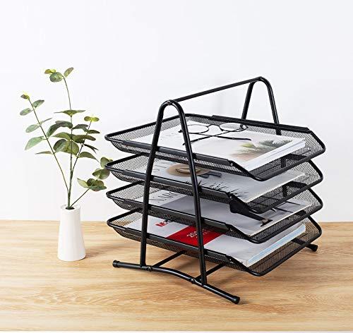 Schreibtisch Dokument Briefablage Organizer, NETUME 4 Tier Metall Mesh Schreibtisch Dokument Brief Ablage Papier Ablagefächer für Zuhause, Büro,Passend bis A4-Format,Schwarz