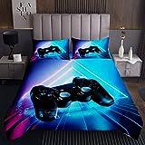 Jungen Gamepad Tagesdecke 240x260cm Videospiel Gamepad Controller Steppdecke für Teenager Mädchen Geometrisches Dreieck Bettüberwurf Blaulicht Wohndecke 3St