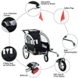 Aosom Elite 360 Swivel 2-in-1 Double Child Two-Wheel Bicycle Cargo Trailer and Jogger with 2 Safety...