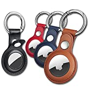 #LightningDeal Air Tag Keychain for Apple Airtags Holder , 4 Pack Protective Leather Airtags Case Tracker Cover with Air Tag Holder, Airtag Key Ring Compatible with Apple New AirTag Dog Collar (Multi-Color)