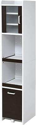 JKプラン すきま 隙間収納 キッチン ミニ 食器棚 家電ラック コンパクト 幅30 高さ160 扉付き FKC-1532-WHDB ホワイトダークブラウン