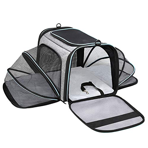 MASKEYON Airline Approved Portable Pet Carrier 2 Sides Expandable Soft-Sided Large Cats Carrier Collapsible Kennel Travel TSA Carrier 4 Doors with Removable Pads and 3 Pockets for Puppy Small Dogs