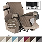 H.VERSAILTEX Reversible Recliner Cover Recliner Slipcover Recliner Furniture Protector 2' Elastic Strap Slip Resistant Water Repellent Slipcover Seat Width Up to 22' (Recliner, Taupe/Beige)