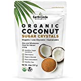 Earth Circle Organics Coconut Sugar Crystals - Unrefined Natural Sweetener, Gluten Free, Non-GMO Sugar Alternative - Kosher, Vegan, Keto Friendly - For A Healthy Low Glycemic Baking and Cooking - 14oz