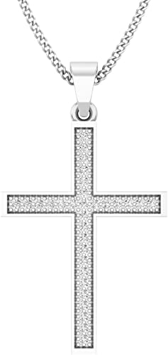 0.10 Carat (ctw) 10K Gold Round Diamond Ladies Micro Pave Religious Cross Pendant 1/10 CT (Silver Chain Included)