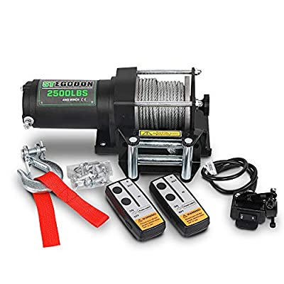STEGODON 2500 lb. Load Capacity Electric Winch,12V Steel Cable Winch with Wired Handle and Wireless Handheld Remotes,Waterproof IP67 Electric Winch with 4-Way Roller Fairlead?Matte Black?