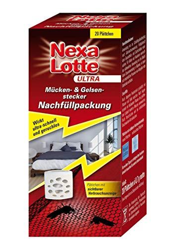 Nexa Lotte Ultra Mücken- & Gelsen-Stecker Nachfüllpackung f. elektro Mückenstecker mit Plättchen, Stechmücken Schnaken Abwehr, Mücken Stopp elektrisch, Mückenschutz, Schnakenstecker, 20 St.