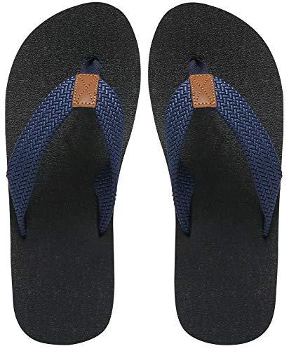 Chanclas para hombre talla 45, zapatos ligeros de playa de verano, esterilla de yoga antideslizante, sandalias de goma antideslizantes para la ducha, azul marino