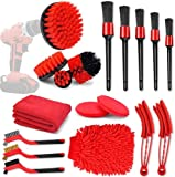 Car Cleaning 18 Pcs Tools Kit,Car Detailing Brush Set,Car Cleaning Detail Brush Tool,for Cleaning Wheels,Dashboard,Interior,Exterior,Leather, Air Vents, Emblems