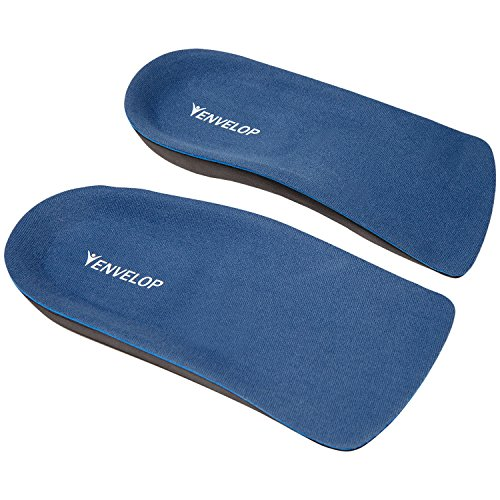 Envelop Shoe Inserts - Half Insole for Plantar Fasciitis, Arch Support, Heel Spur Pain Relief, Flat Feet - Orthotic Foam Cup Pad Fit Most Men, Women, Kid - for Running Walking, Dress, Work Boot (S)