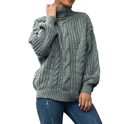Eaylis Damen Strickpullover Pullover Casual Winter Sweater Sweatshirt Winter,Hoher Kragen, Drehen, Locker ÄRmel, Dicke Wolle, Pullover