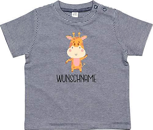 Kleckerliese Baby Kinder T-Shirt Sprüche Nicki gestreift Motiv Tiermotiv Wunschname Name Tiere Giraffe, NavyWhite, 12-18 Monate