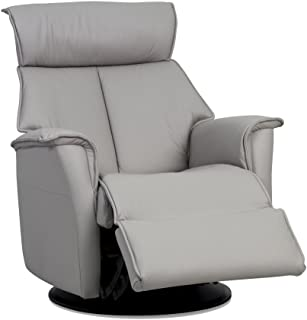 IMG Boss Large RM 387 Leather Relaxer Recliner Swivel Glider Chair - Power Recline Trend Cinder Grey Leather w/USB - - in-Home Delivery