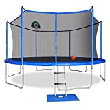 12FT Trampoline with Safety Enclosure Net, Ladder, Basketball Hoop, Jumping Mat, Safety Pad, Outdoor Backyard Trampolines for Kids Adults