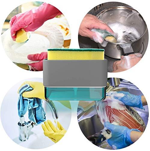 Lecone スポンジホルダー キッチン掃除 ソープディスペンサー スポンジ置き たわし入れ 洗剤機 押し出す 頑丈 使いやすい 安定 水周り シンク キッチン用 収納 清潔 道具 ツール 台所掃除用品 洗剤ケース (スポンジ付き・グレイ)