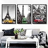 Lienzo de pintura Set Pinturas Torre Eiffel panorama automotriz arte de la fotografía Triple Mural marco decoración de la pared Negro Cafe Hotel Restaurante Inicio 3pcs Mural ( Size : 40cm*60cm )