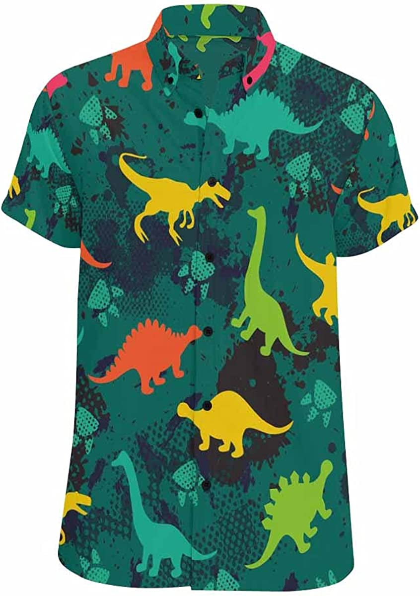 InterestPrint Colored Ranking TOP13 Cute Dinosaurs 2021 spring and summer new Shirts Button Standard Down