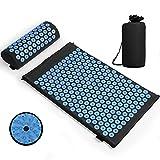 Esterilla de acupresión, Colchoneta de masaje con almohada para aliviar el dolor corporal y el estrés Kit (azul/negro)