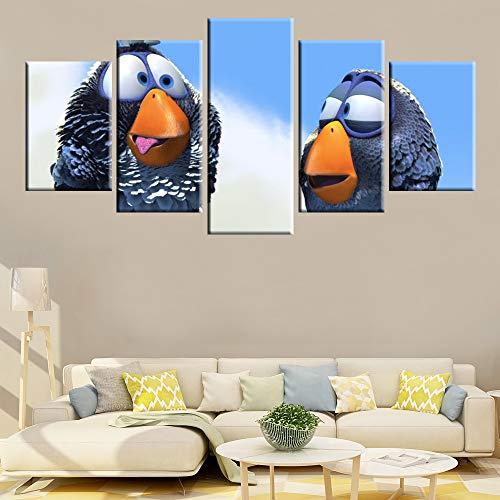 HQATPR canvas schilderij modulaire 5 panelen Hd Print spel Angry Birds poster canvas muurkunst voor wooncultuur kinderkamer muurschildering With Frame 40 x 60 cm x 2,40 x 80 cm x 2,40 x 100 cm x 1