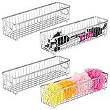mDesign Juego de 4 cestas de almacenaje en metal con asas integradas – Caja...