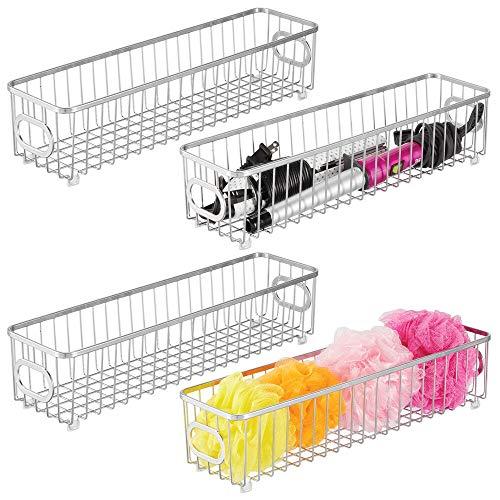 mDesign Juego de 4 cestas de almacenaje en metal con asas integradas – Caja organizadora estrecha con atractivo diseño de rejilla – Organizador de baño antideslizante para cosméticos – plateado