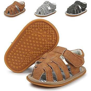 Infant Baby Boys Girls Summer Sandals Non-Slip Soft Sole Toddler First Walker Cirb Shoes 0-18 Months   6-12 Months M US Infant,A-Brown Baby Boy Sandals