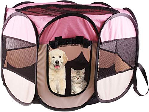 Peach Playpen, Portátil Plegable Totalmente Cerrado, Octagonal Cerca Transparente De Mascotas, Para Perrito De Perrito Conejito Conejito Interior Viaje Al Aire Libre Uso De Camping (Tamaño: X-Large)