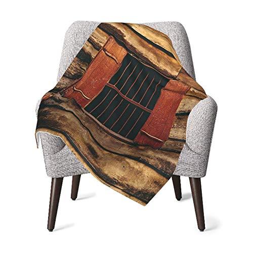 Hdadwy Manta doble para bebé, edredón para bebé, decoración de la casa, casa de leñador antigua de madera con ventana única y alambres en fotografía oscura Manta para bebé roja y marrón, manta cómoda