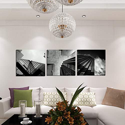 WSNDGWS Canvas Painting Creative Three Fight Ciudad en Blanco y Negro Paisaje de Gran Altura Pintura al óleo Sin Marco de Imagen A1 20x20cmx3