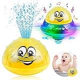 Sinoeem 2 in 1 Wassersprühspielzeug Spielzeug Automatische Induktions Sprinkler Kinder Schwimmende Badespielzeug mit Musik und Blinklicht FüR Babys Kleinkinder Kinder-Party (Gelb)