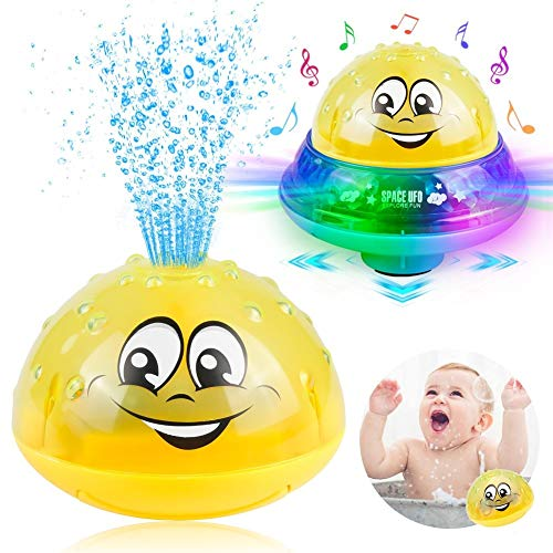 Sinoeem Baby Bath Toys for 1 2 3 4 5 Years Old Boys Girls, 2 in 1 Infant Children's Automatic Induction Water Spray Sprinkler Buddy Bath Fun Toddlers Kids Toys with Music and Flashing Lights