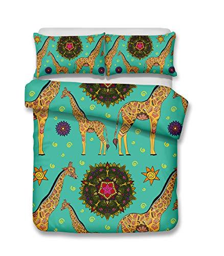 Onlyway 2 stuks cartoon en schattige giraffe dekbedovertreksets geborsteld stof 3D high-definition stereo soft bedding sets quilt cover(135 * 210cm * 1) & kussenhoes (50 * 75cm * 1) geschikt voor 90 cm bed