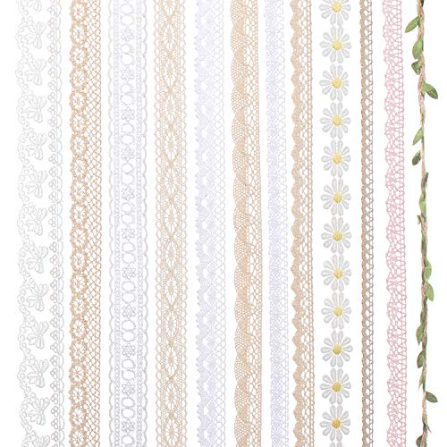 IDONGCAI Lace Ribbon for Craft Vintage Lace Trims Bridal Wedding Scalloped Edge Crochet Lace Gift Wrap Ribbon of All Kind Lace Sewing Craft Supply Mix 24 Yards ( 2 Yard Each)