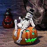HNZNCY Figuras de Halloween preiluminadas de 6.9 pulgadas para Halloween esqueleto y decoraciones de calabaza con luces LED que cambian de color para decoración interior y exterior de fiesta