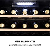 Klarstein Vinamour - Weinkühlschrank, Unterbau/Einbau, EEK A, Touch Control, freistehend, 2 Kühlzonen, Volumen: 80 Liter, 29 Flaschen, Kühltemperatur: 5-22 °C, schwarz - 7