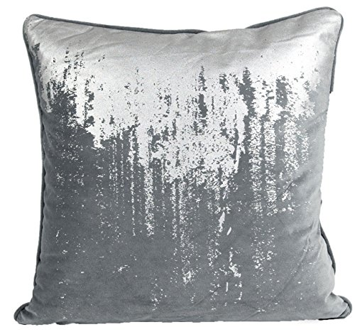 Nielsen Kissenbezug Reginald, 50x50 cm, Charcoal Silver (dunkelgrau/Silber), Samtkissenbezug, Samtkissen, Dekokissen, modernes Zierkissen, Sofakissen, dekorativ und elegant