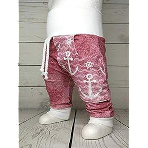 Baby Pumphose mit Tasche Anker Rosa Jeans Look handmade Puschel-Design