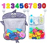 Comfylife Baby Bath Toy Organizer - Shark (2 Bath Toy Storage Nets, 8 Toy Numbers & 10 Strong Hooks) – Great Bath Net for Kids – Cute Bathtub Toy Organizer and Bath/Shower Caddy Storage Solution