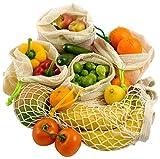 Gemüsebeutel Obstnetze, 4+1-Set, strapazierfähig & wiederverwendbar, Bio Baumwolle,...